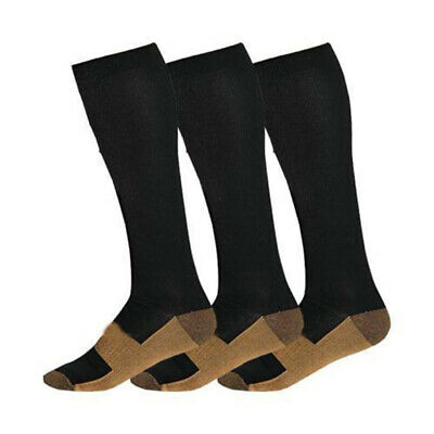 Unisex Color Block Magic Anti-Fatigue Soft Copper Infused Compression Socks Eyef