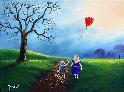 Mal.burton Original Oil Painting  The Lost Balloon Hand Painted Canvas Art New