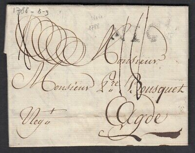Marque Nice Grand Modele 1788 Agde Alpes Maritimes Herault Lettre Cover France