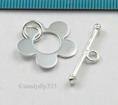 1x STERLING SILVER BRIGHT PLAIN FLOWER TOGGLE CLASP 18.3mm N497