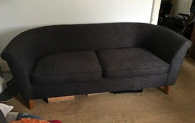 2 Seater Conran Sofa Charcoal1992 Good Solid Construction Recently Upholstered