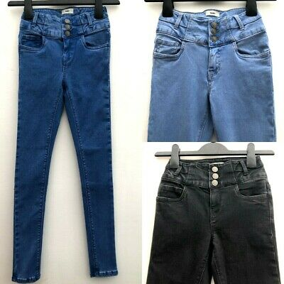 Girls Ex NEW LOOK High Waisted Skinny Jeans Blue or Black Sizes 10-15 Years NEW