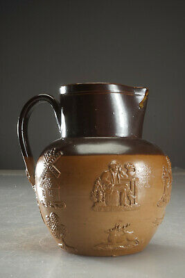 Vintage Doulton Lambeth Stoneware Brown Jug Pitcher Drinking Hunting Scenes 6.75