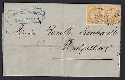 N°43B Paire Ttb Gc 532 Bordeaux Montpellier Herault 1871 Lettre Cover France