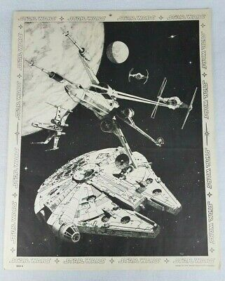 RARE STAR WARS MOVIE POSTER 1977 Tie X-wing, Millennium Falcon by Harley Copic