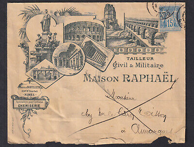 N°90 Enveloppe Illustree Nimes Gard Maison Raphael Lettre Cover France