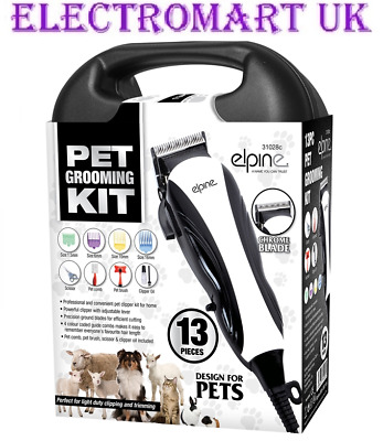 13 Pc Electric Pet Dog Cat Grooming Kit Clippers Shears Scissors Combs Cutters