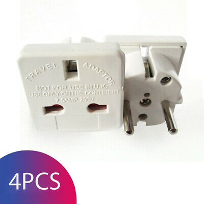 UK to EU Euro Europe European Travel Adapter Plug Converter Adaptor - Pack of 4