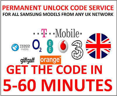 Unlock Code For O2 Tesco Orange Tmobile EE Vodafone UK Samsung Galaxy S8 S8 Plus