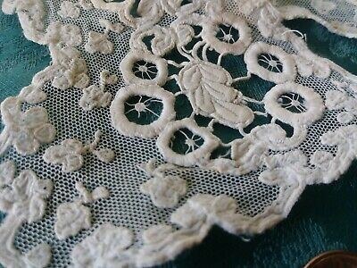 Incredible!  antique French lace childs COLLAR Schiffli  BABY heavy embroidered