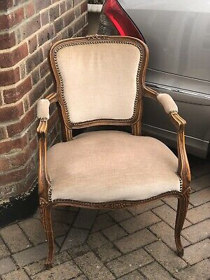 Vintage French Ladies Bedroom Armchair Louis XV Style Carved Frame 3 Available
