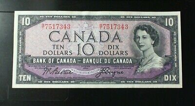 1954 Bank Of Canada  ($10.00 ) Ten Dollar Banknote Beattie Coyne  Modified