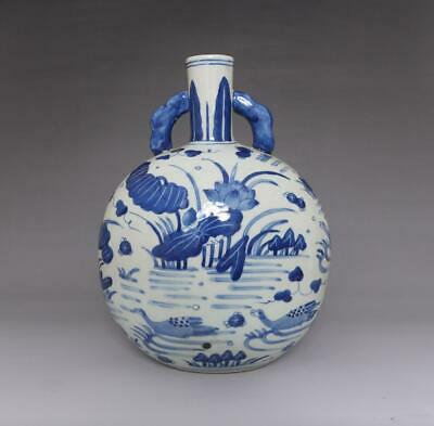 Old Rare Chinese Blue And White Porcelain Vase With Kangxi Marked (E75)