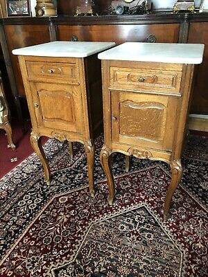 Louis Xv Style French Pair Of Oak Marble Top Bedside Cabinets