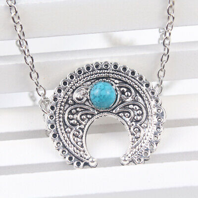 Vintage Women's Tibetan Silver Chain Turquoise Beads Moon Pendant Necklace Gift