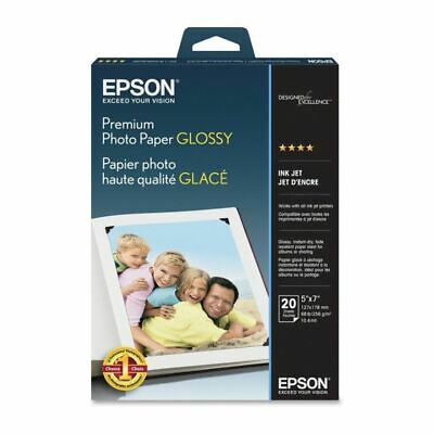 Epson Premium Photo Paper, 68 lbs, High-Gloss, 5 x 7, 20 Sheets/Pack