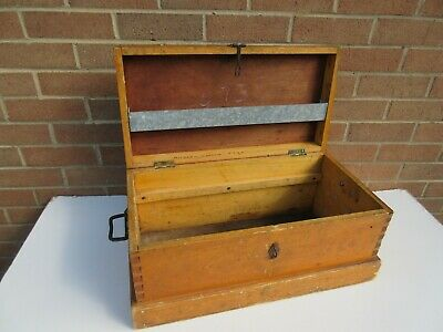 Vintage artisan made robust simple wooden tool storage box chest empty incl UKpp