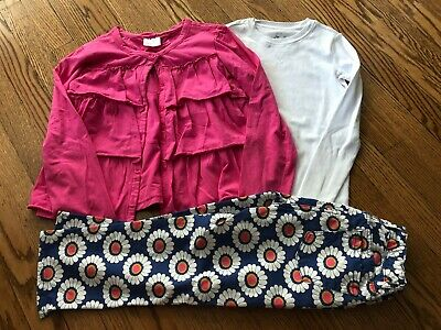 Girl's MINI BODEN Floral Jeans + HANNA ANDERSSON Pink Cardigan + Tee - Size 10