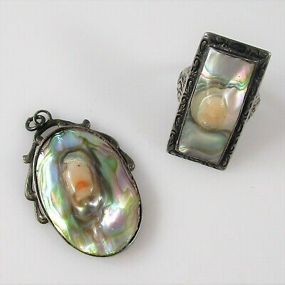 Vintage Art Nouveau Mother of Pearl Lot of 2 Jewelry Pendant Ring Sterling 9.8g