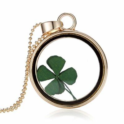Handmade Clover Real Dried Leaf Pendant Necklace Floating Locket Women Jewelry