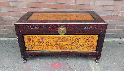 Vintage Hand Carved Horse Plow Theme Wood Asian Oriental Camphor Chest Trunk 40""