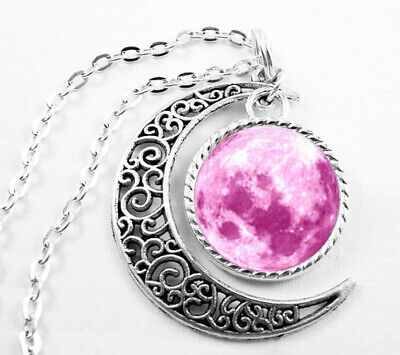 Art Vintage Pink moon Pendant Choker Jewelry Silver Moon Necklace For Women Dres