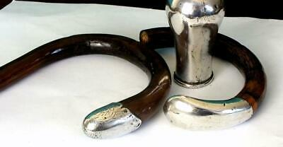 Antique Solid Silver Mounted Walking Stick Handles + One Other - London 1920