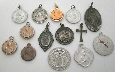 Vintage Catholic Religious Medals Large Group Silver Gold