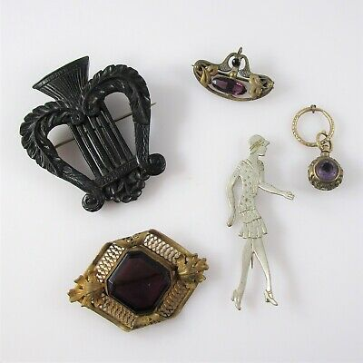Antique Lot of 5 Pins Fob Purple Stone Lady Woman Mixed Metals Wood Vintage 27g