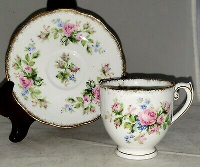Roslyn MOSS ROSE Bone China Pink Roses Blue Flowers DEMITASSE CUP & SAUCER