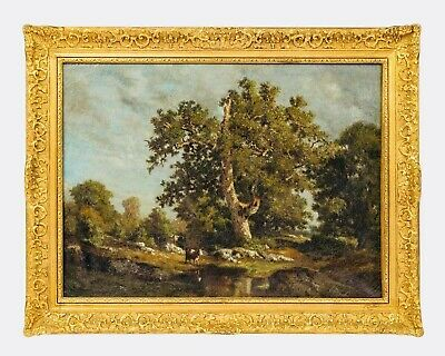 Amazing 19th Century  Landscape with Cows  Original Oil Painting
