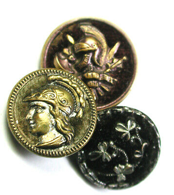 BB Antique Brass Button Lot of 3 Velvet backs Assorted Pictorials about 1/2""