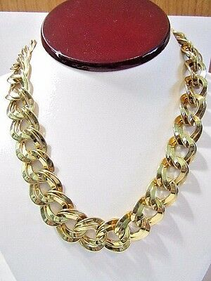 Double Curb Bright Gold Tone Plated Metal Necklace Vintage Classic