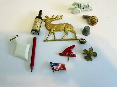 Small Collectible Junk Lot Pins Odds End Celluloid Tractor