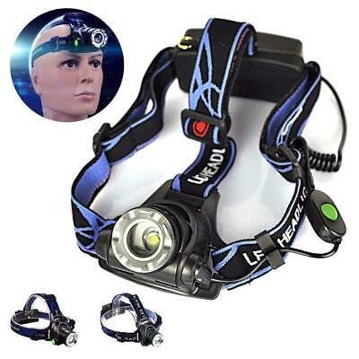 12000LM T6 LED Zoom Headlamp Head Torch Headlight+18650 Batteries + Charger DN