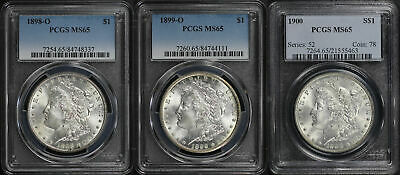 Lot of 3 Mixed Date Morgan Silver Dollars PCGS MS-65 -163361