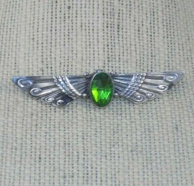 Antique ART DECO Heavy Sterling Egyptian Revival Winged Brooch Large Green Stone
