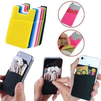 Silicone Mobile Phone Wallet Credit Card Cash Stick Adhesive Holder Case Gift DN