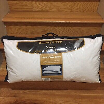 100% Goose Down and Feather Pillow Premium King Size Sleep Pillows Bed