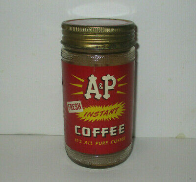 "Vintage A&P INSTANT COFFEE 4.5"" Glass JAR with Metal Lid - Antique"