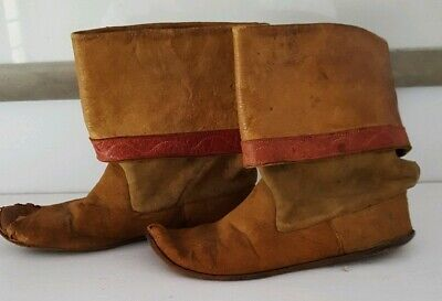 Antique Native American Indian? Child's Moccasins Double Leather Display Only
