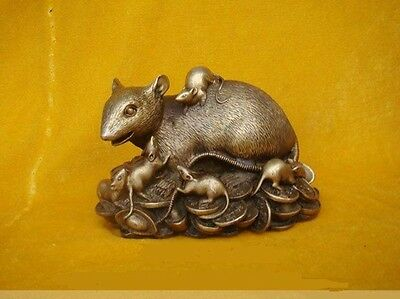 """Chinese Bronze Statue Figurine Rat Mouse 4.8""""Wide"""