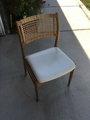 Dux Vintage Midcentury Cane Back Dining Chair, Side Chair - Cane Damaged