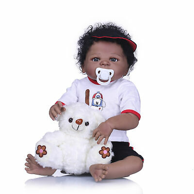 "23"" Reborn Baby Dolls African American Full Body Silicone Baby Boy Doll Washable"
