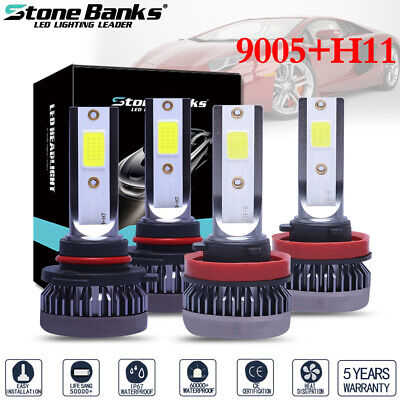 Mini Ultra-light 4pcs 9005 H11 COB LED Headlight Hi/Lo Beams Bulbs 120W 26000LM