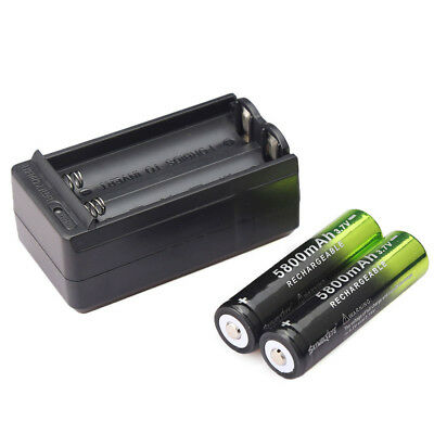2pcs Skywolfeye 5800mah 18650 Battery 3.7v Rechargeable Li-ion Cell +USA Charger