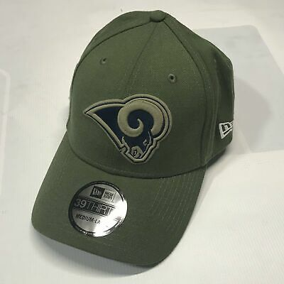 best service 5dfcd 661f2 Los Angeles Rams New Era Olive 2018 Salute To Service Sideline 39THIRTY  Flex Hat