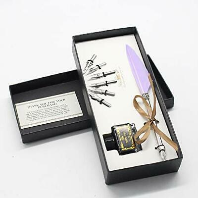 Feather Quill Pen Set -  Calligraphy Pen in Gift Box Lavender (6 Metallic Nibs)