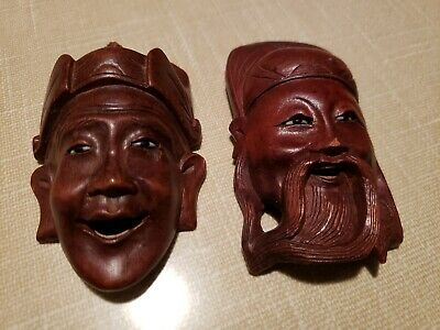 2 Vintage Antique Asian Carved Wood Faces w/  Eyes & Teeth