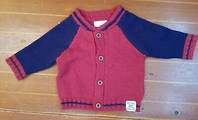 Lovely Pumpkin Patch Red & Blue Cardigan Size 0 - 3 M